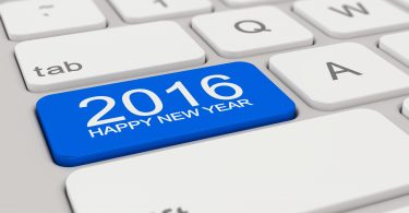 3d rendering of a white keyboard with blue 2016 happy new year button.
