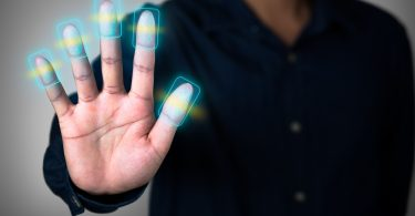 Futuristic fingerprint scanning device biometric security system